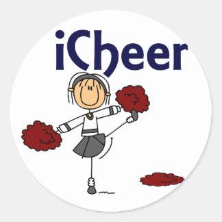 Cheerleader I Cheer Stick Figure Round Sticker