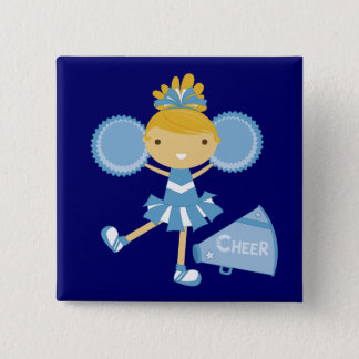 Cheerleader in Blue 15 Cm Square Badge