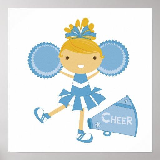 Cheerleader in Blue Posters