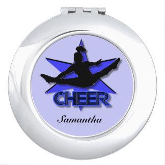 Cheerleader in Blue round compact mirror
