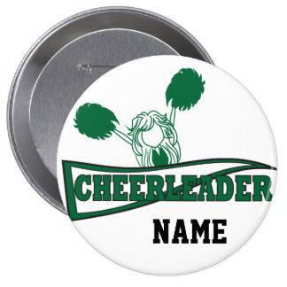 Cheerleader in Dark Green | Personalize 4 Inch Round Button