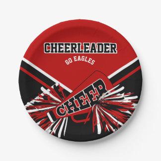 Cheerleader in Dark Red, White and Black Paper Plate