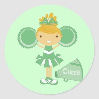 Cheerleader in Green Classic Round Sticker