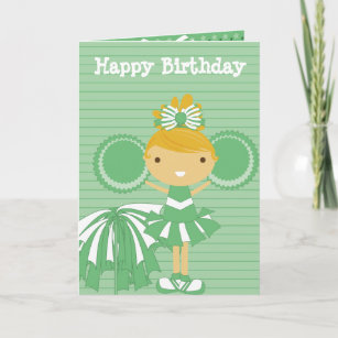 Cheerleader In Green Personalized Birthday Cards