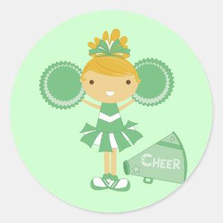 Cheerleader in Green Round Sticker