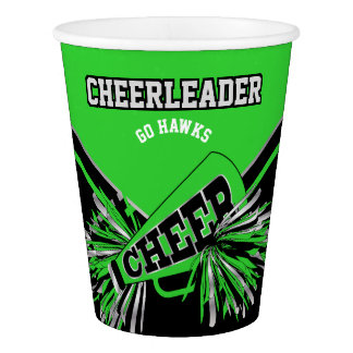 Cheerleader in Lime Green, Silver and Black Paper Cup