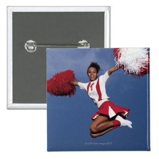 Cheerleader in mid-air pinback buttons