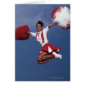Cheerleader in mid-air card