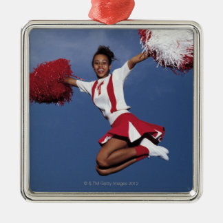 Cheerleader in mid-air Silver-Colored square decoration