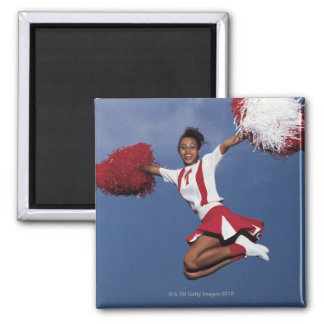 Cheerleader in mid-air square magnet