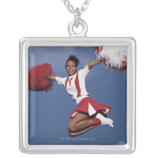 Cheerleader in mid-air square pendant necklace