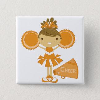 Cheerleader in Orange 15 Cm Square Badge