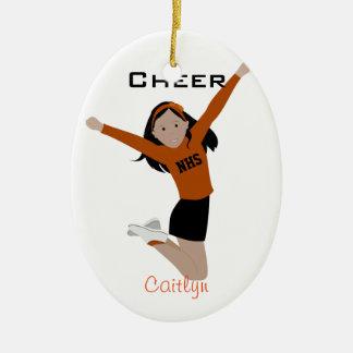 Cheerleader In Orange & Black With Black Hair Christmas Ornament