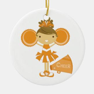 Cheerleader in Orange Christmas Ornament