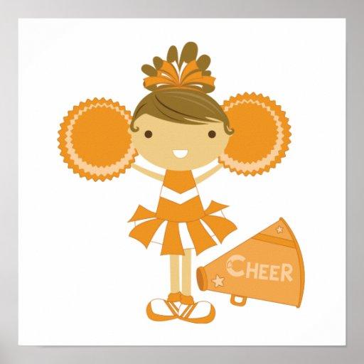 Cheerleader in Orange Print