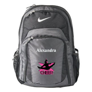 Cheerleader in pink personalized backpack