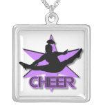Cheerleader in purple square pendant necklace