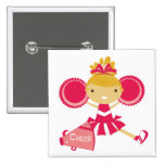 Cheerleader in Red 15 Cm Square Badge