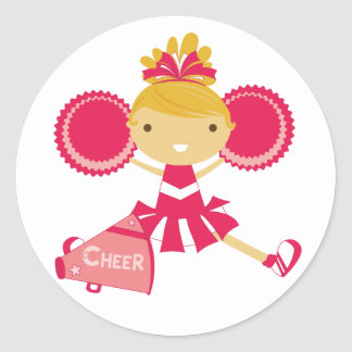 Cheerleader in Red Classic Round Sticker