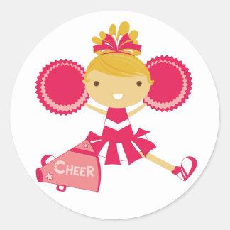 Cheerleader in Red Classic Round Sticker