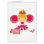 Cheerleader in Red Note Card