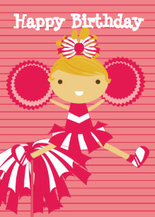 Cheerleader In Red Personalized Birthday Cards