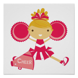 Cheerleader in Red Poster