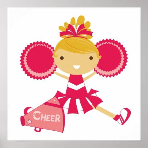 Cheerleader in Red Print