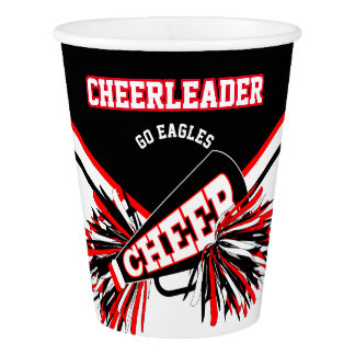 Cheerleader in Red, White and Black Paper Cup