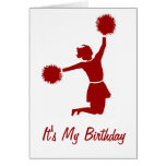 Cheerleader In Silhouette Birthday Party Card