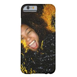 Cheerleader laughing, surrounded by pompoms, barely there iPhone 6 case