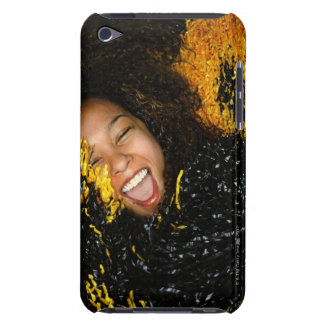Cheerleader laughing, surrounded by pompoms, barely there iPod case