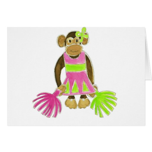 Cheerleader Monkey Greeting Card