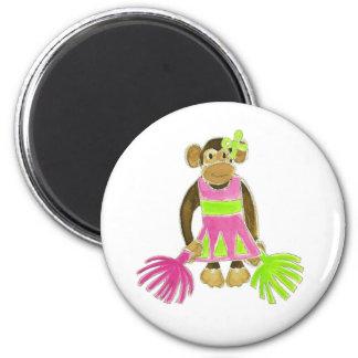 Cheerleader Monkey 6 Cm Round Magnet