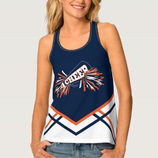 Cheerleader - Navy Blue, Orange & White Tank Top