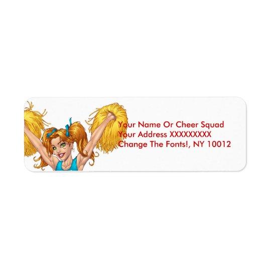 Cheerleader or Cheerleading with Pom-Poms - Al Rio Return Address Label