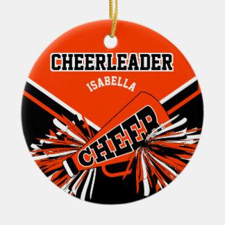 Cheerleader - Orange, Black and White Christmas Ornament