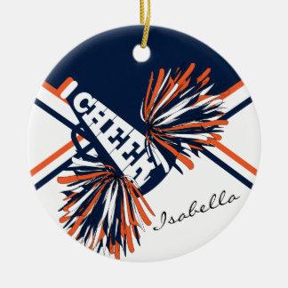 Cheerleader - Orange, White and Navy Blue Christmas Ornament