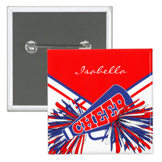 Cheerleader Outfit in Blue, White and Red 15 Cm Square Badge