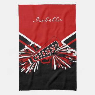 Cheerleader Outfit in Dark Red, Black & White Tea Towel
