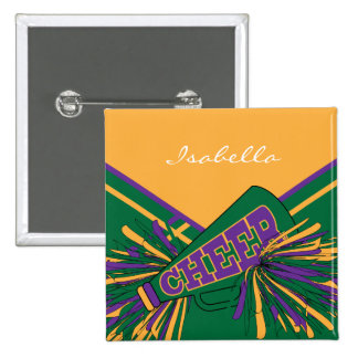 Cheerleader Outfit in Gold, Green & Purple 15 Cm Square Badge