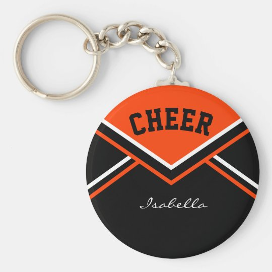 Cheerleader Outfit in Orange Basic Round Button Key Ring