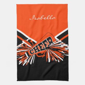 Cheerleader Outfit in Orange, Black & White Tea Towel