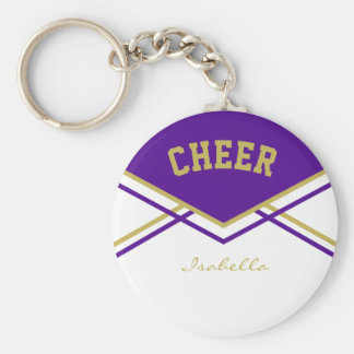 Cheerleader Outfit in Purple, Vegas Gold and White Key Ring
