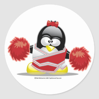 Cheerleader Penguin Classic Round Sticker