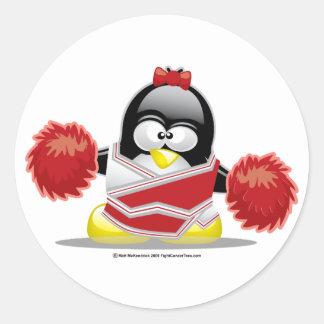 Cheerleader Penguin Round Sticker
