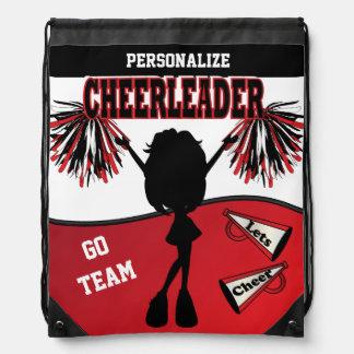 Cheerleader Personalize | Red White Black Drawstring Bag