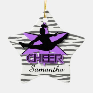 Cheerleader Personalized tiger Christmas ornament