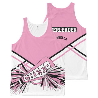 Cheerleader - Pink, White & Black All-Over Print Tank Top