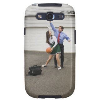 Cheerleader playing basketball with her father galaxy SIII covers